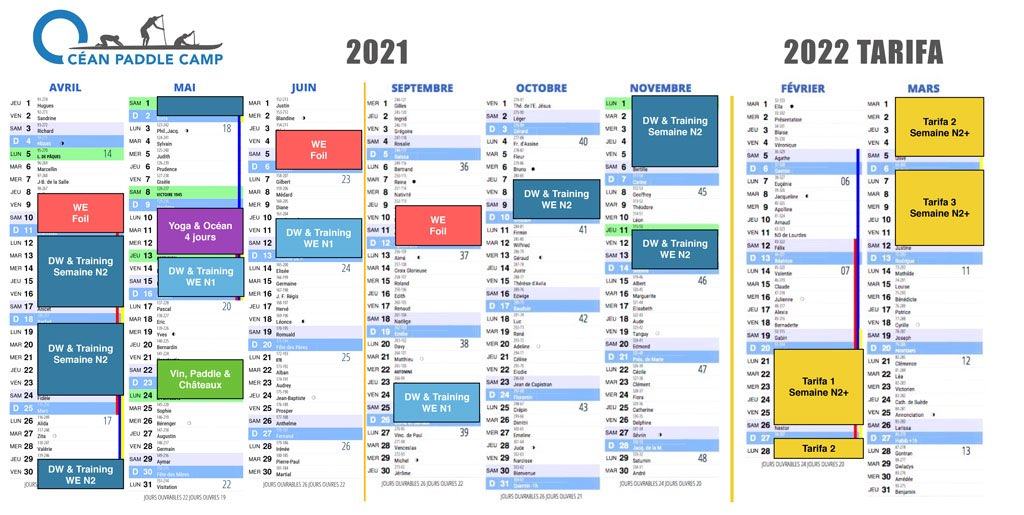 Agenda des stages 2021-2022 Océan Paddle Camp