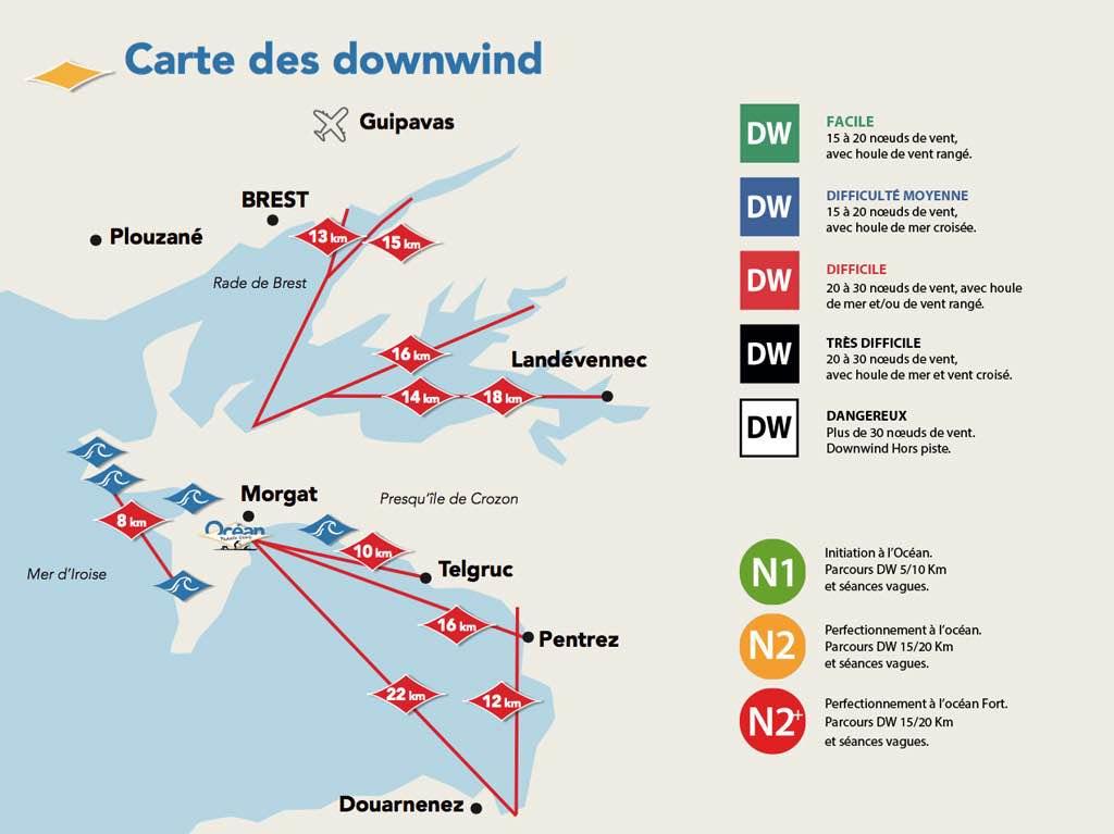 Carte des downwind crozon et niveaux